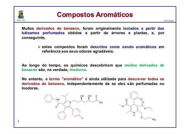 DQOI - UFC Prof. Nunes Muitos derivados de benzeno, foram originalmente isolados a partir das bálsamos perfumados obtidos ...