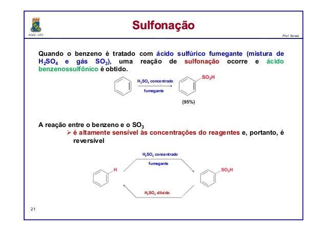 DQOI - UFC Prof. Nunes Quando o benzeno é tratado com ácido sulfúrico fumegante (mistura de H2SO4 e gás SO3), uma reação d...