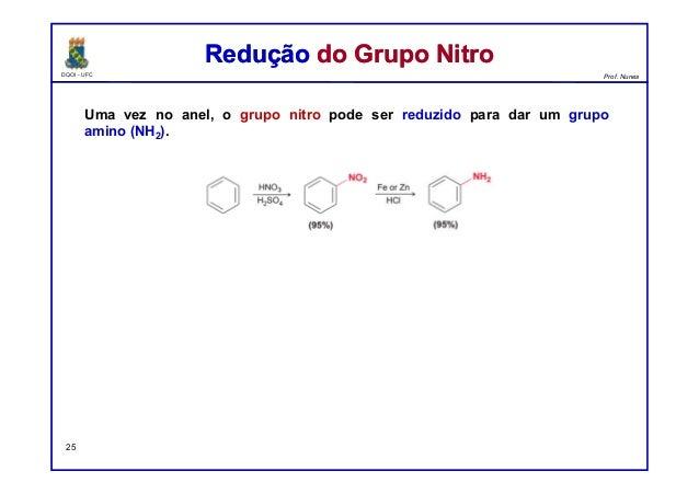 DQOI - UFC Prof. Nunes Uma vez no anel, o grupo nitro pode ser reduzido para dar um grupo amino (NH2). Redução do Grupo Ni...