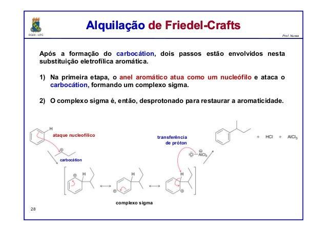 DQOI - UFC Prof. Nunes Após a formação do carbocátion, dois passos estão envolvidos nesta substituição eletrofílica aromát...