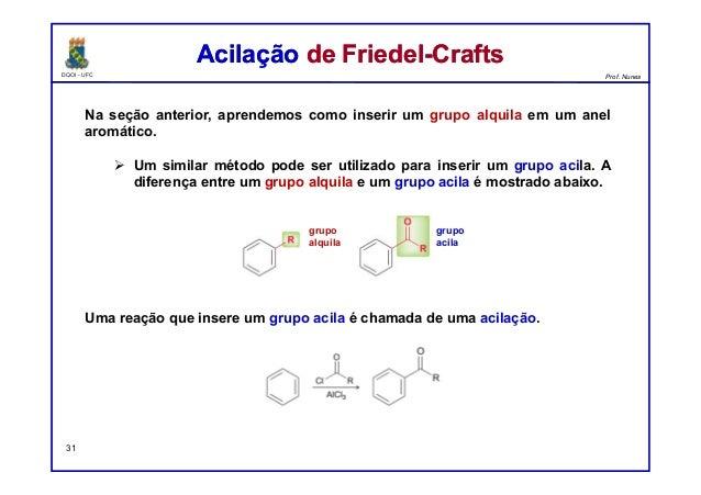 DQOI - UFC Prof. Nunes Na seção anterior, aprendemos como inserir um grupo alquila em um anel aromático.  Um similar méto...