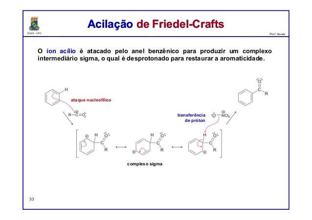 DQOI - UFC Prof. Nunes O íon acílio é atacado pelo anel benzênico para produzir um complexo intermediário sigma, o qual é ...