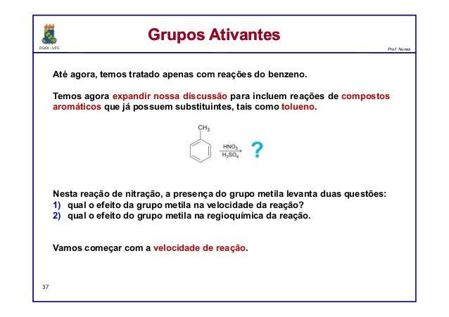 DQOI - UFC Prof. Nunes Até agora, temos tratado apenas com reações do benzeno. Temos agora expandir nossa discussão para i...