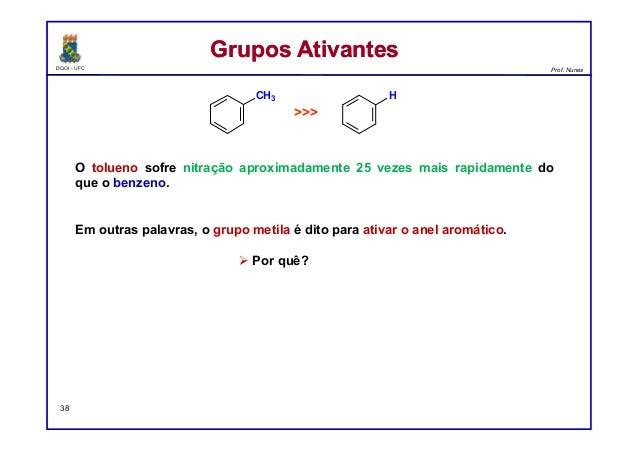 DQOI - UFC Prof. Nunes O tolueno sofre nitração aproximadamente 25 vezes mais rapidamente do que o benzeno. Em outras pala...