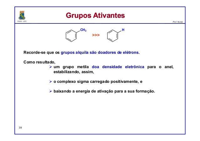 DQOI - UFC Prof. Nunes Recorde-se que os grupos alquila são doadores de elétrons. Como resultado,  um grupo metila doa de...