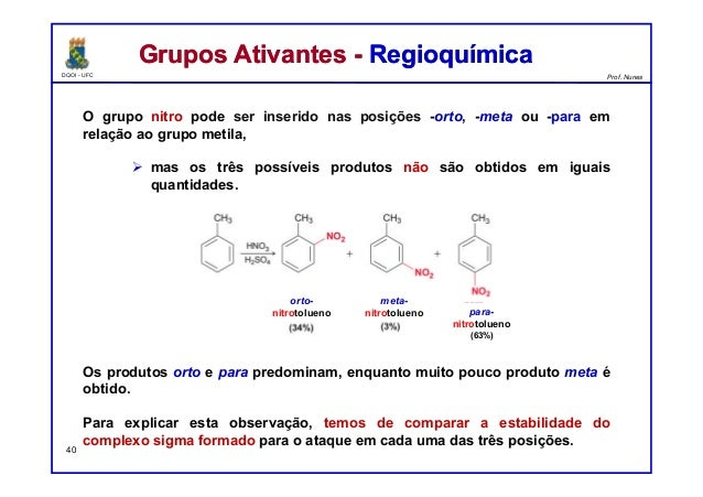 DQOI - UFC Prof. Nunes O grupo nitro pode ser inserido nas posições -orto, -meta ou -para em relação ao grupo metila,  ma...