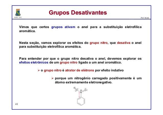 DQOI - UFC Prof. Nunes Vimos que certos grupos ativam o anel para a substituição eletrofílica aromática. Nesta seção, vamo...