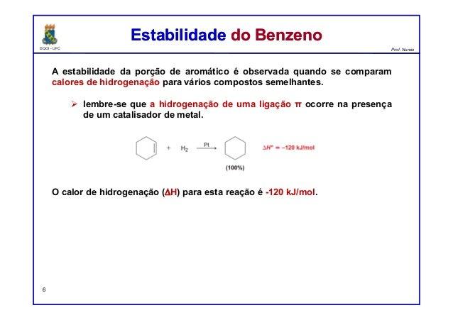 DQOI - UFC Prof. Nunes A estabilidade da porção de aromático é observada quando se comparam calores de hidrogenação para v...