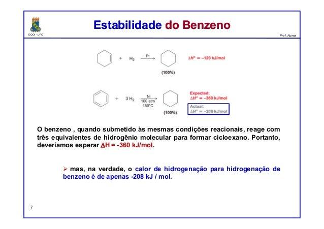 DQOI - UFC Prof. Nunes O benzeno , quando submetido às mesmas condições reacionais, reage com três equivalentes de hidrogê...