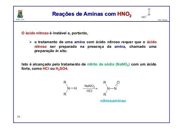DQOI - UFC Prof. Nunes Reações de Aminas com HNO2Reações de Aminas com HNO2 70 O ácido nitroso é instável e, portanto,  o...