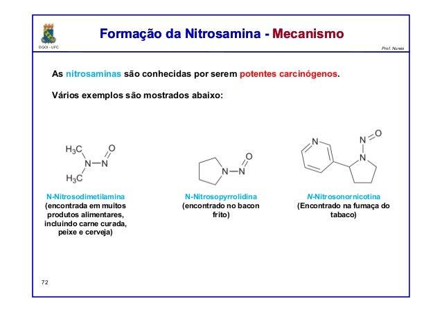 DQOI - UFC Prof. Nunes Formação da Nitrosamina - MecanismoFormação da Nitrosamina - Mecanismo 72 As nitrosaminas são conhe...