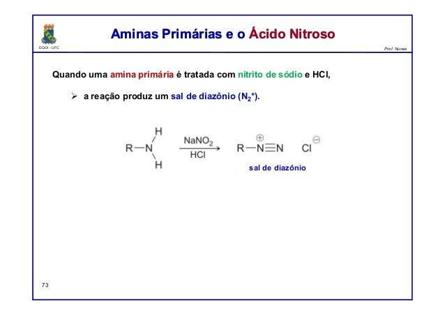 DQOI - UFC Prof. Nunes Aminas Primárias e o Ácido NitrosoAminas Primárias e o Ácido Nitroso 73 Quando uma amina primária é...