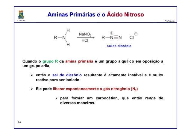 DQOI - UFC Prof. Nunes Aminas Primárias e o Ácido NitrosoAminas Primárias e o Ácido Nitroso 74 Quando o grupo R da amina p...