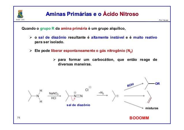 DQOI - UFC Prof. Nunes Aminas Primárias e o Ácido NitrosoAminas Primárias e o Ácido Nitroso 75 Quando o grupo R da amina p...