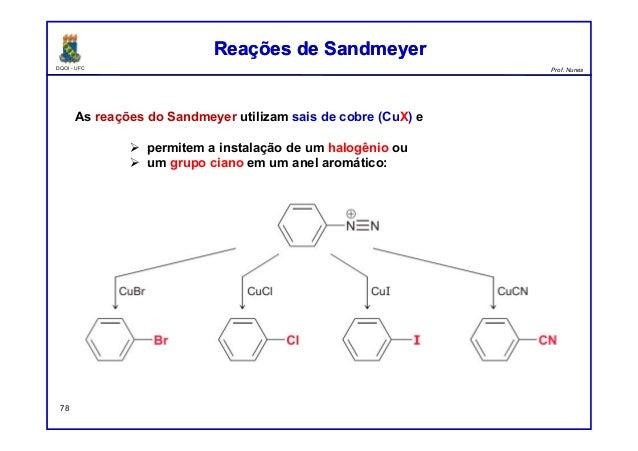 DQOI - UFC Prof. Nunes Reações de SandmeyerReações de Sandmeyer 78 As reações do Sandmeyer utilizam sais de cobre (CuX) e ...