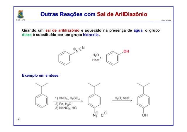 DQOI - UFC Prof. Nunes Outras Reações com Sal de ArilDiazônioOutras Reações com Sal de ArilDiazônio 81 Quando um sal de ar...