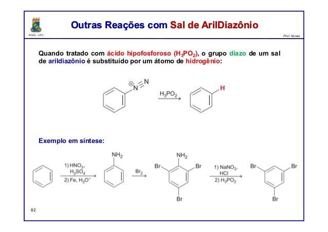 DQOI - UFC Prof. Nunes Outras Reações com Sal de ArilDiazônioOutras Reações com Sal de ArilDiazônio 82 Quando tratado com ...