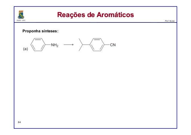DQOI - UFC Prof. Nunes Reações de AromáticosReações de Aromáticos 84 Proponha sínteses: