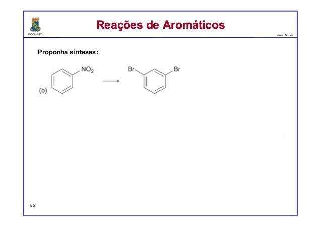 DQOI - UFC Prof. Nunes Reações de AromáticosReações de Aromáticos 85 Proponha sínteses: