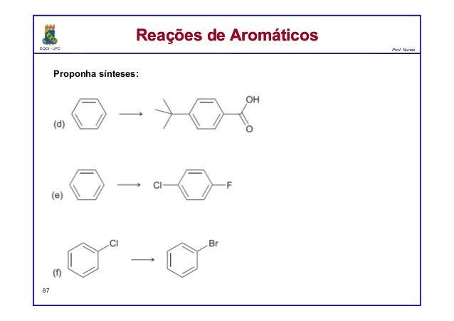 DQOI - UFC Prof. Nunes Reações de AromáticosReações de Aromáticos 87 Proponha sínteses:
