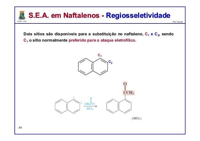 DQOI - UFC Prof. Nunes Dois sítios são disponíveis para a substituição no naftaleno, C1 e C2, sendo C1 o sítio normalmente...