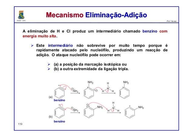 DQOI - UFC Prof. Nunes A eliminação de H e Cl produz um intermediário chamado benzino com energia muito alta.  Este inter...