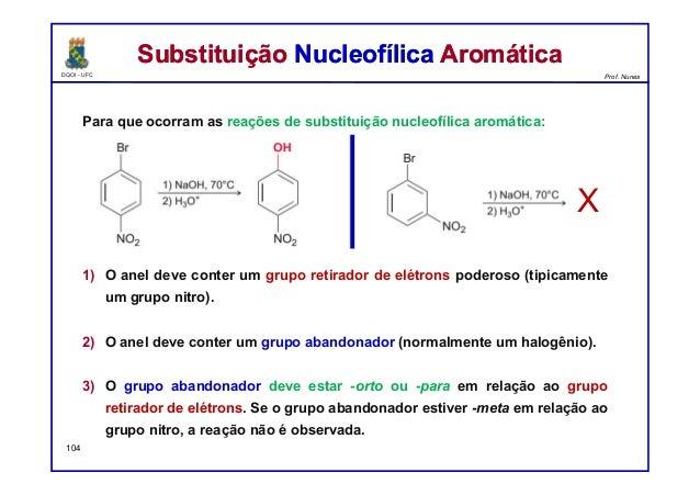 DQOI - UFC Prof. Nunes Para que ocorram as reações de substituição nucleofílica aromática: 1) O anel deve conter um grupo ...