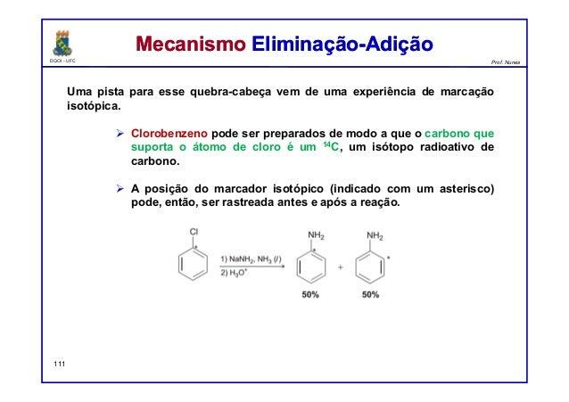 DQOI - UFC Prof. Nunes Uma pista para esse quebra-cabeça vem de uma experiência de marcação isotópica.  Clorobenzeno pode...
