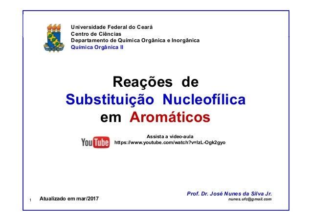 Prof. Nunes Reações de Substituição Nucleofílica em Aromáticos Universidade Federal do Ceará Centro de Ciências Departamen...
