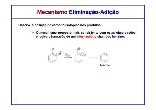 Observe a posição do carbono isotópico nos produtos. O mecanismo proposto mais consistente com estas observações envolve a...