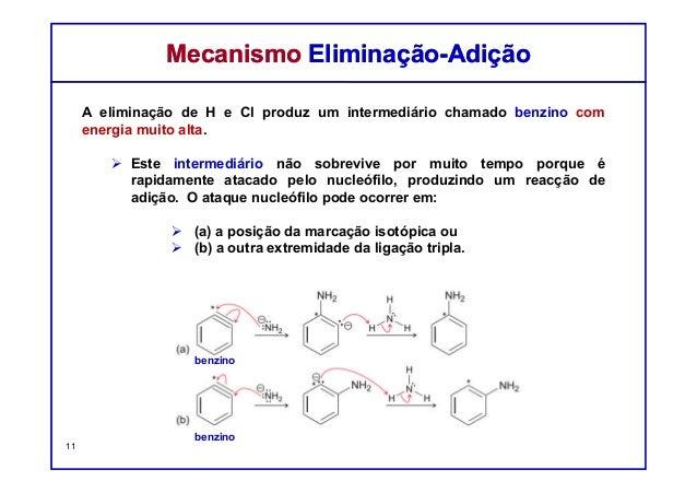 A eliminação de H e Cl produz um intermediário chamado benzino com energia muito alta. Este intermediário não sobrevive po...
