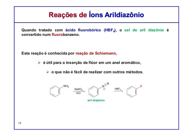 Quando tratado com ácido fluorobórico (HBF4), o sal de aril diazônio é convertido num fluorobenzeno. Esta reação é conheci...
