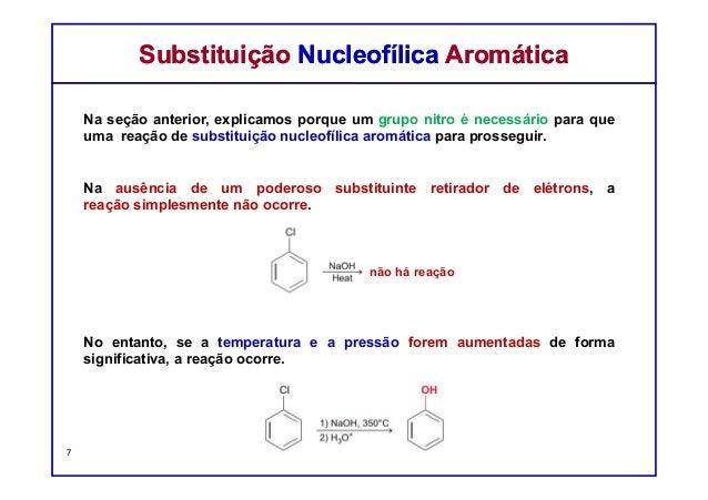 Na seção anterior, explicamos porque um grupo nitro é necessário para que uma reação de substituição nucleofílica aromátic...