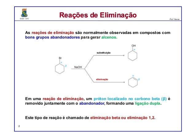 DQOI - UFC Prof. Nunes DQOI - UFC Prof. Nunes As reações de eliminação são normalmente observadas em compostos com bons gr...