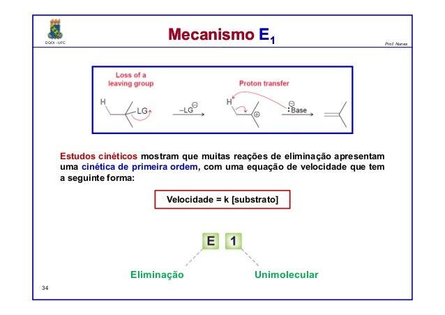 DQOI - UFC Prof. Nunes DQOI - UFC Prof. Nunes Mecanismo E1Mecanismo E1 Estudos cinéticos mostram que muitas reações de eli...