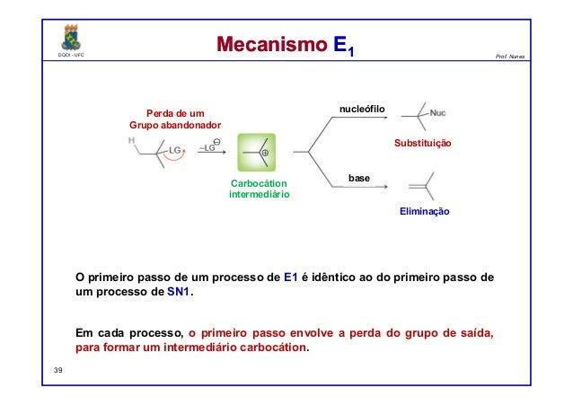 DQOI - UFC Prof. Nunes DQOI - UFC Prof. Nunes Mecanismo E1Mecanismo E1 O primeiro passo de um processo de E1 é idêntico ao...