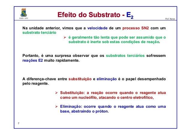 DQOI - UFC Prof. Nunes DQOI - UFC Prof. Nunes Na unidade anterior, vimos que a velocidade de um processo SN2 com um substr...