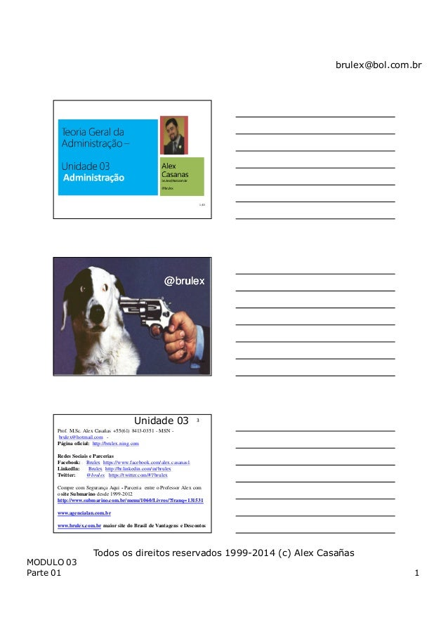 brulex@bol.com.br MODULO 03 Parte 01 1 Todos os direitos reservados 1999-2014 (c) Alex Casañas 1 /63 @brulex@brulex 2 /63 ...