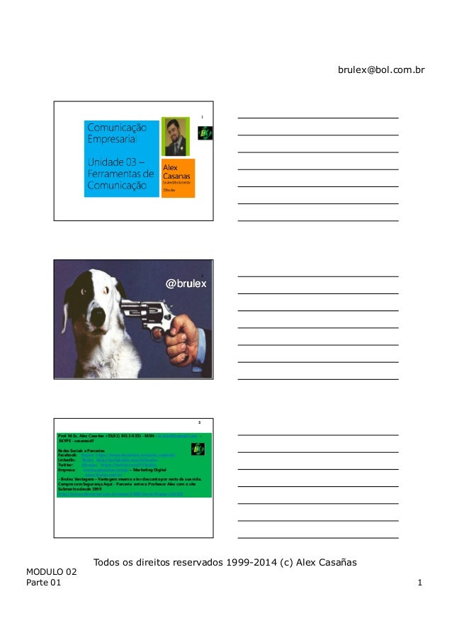 brulex@bol.com.br MODULO 02 Parte 01 1 Todos os direitos reservados 1999-2014 (c) Alex Casañas 1 @brulex@brulex 2 Prof. M....
