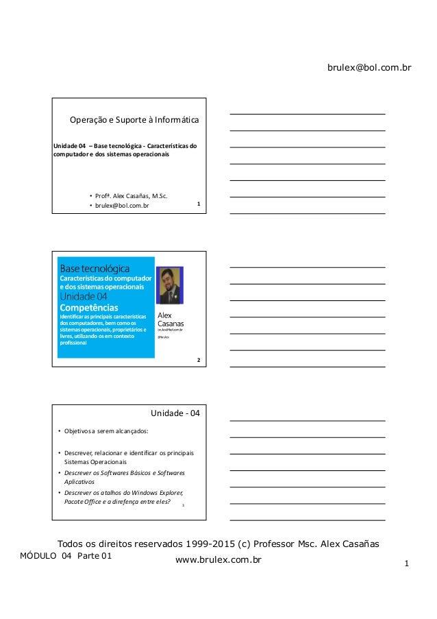 brulex@bol.com.br MÓDULO 04 Parte 01 1 Todos os direitos reservados 1999-2015 (c) Professor Msc. Alex Casañas www.brulex.c...