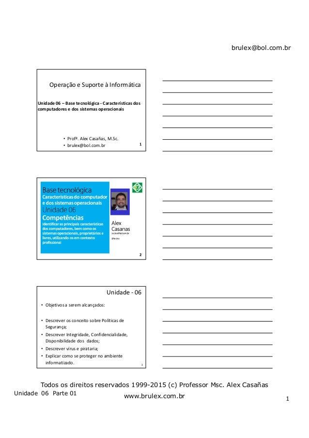 brulex@bol.com.br Unidade 06 Parte 01 1 Todos os direitos reservados 1999-2015 (c) Professor Msc. Alex Casañas www.brulex....
