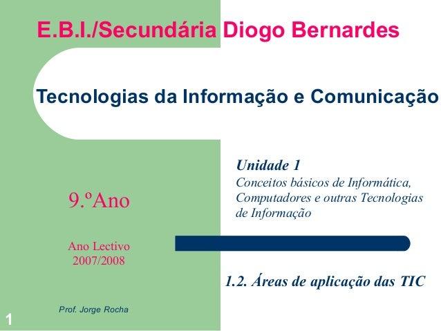 1  E.B.I./Secundária Diogo Bernardes  Tecnologias da Informação e Comunicação  Prof. Jorge Rocha  Unidade 1  9.ºAno  Ano L...