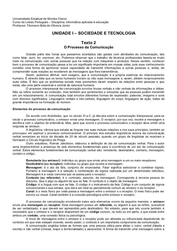Universidade Estadual de Montes Claros Curso de Letras Português – Disciplina: Informática aplicada à educação Professor: ...
