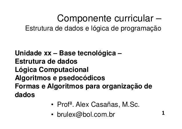 Componente curricular – Estrutura de dados e lógica de programação Unidade xx – Base tecnológica – Estrutura de dados Lógi...
