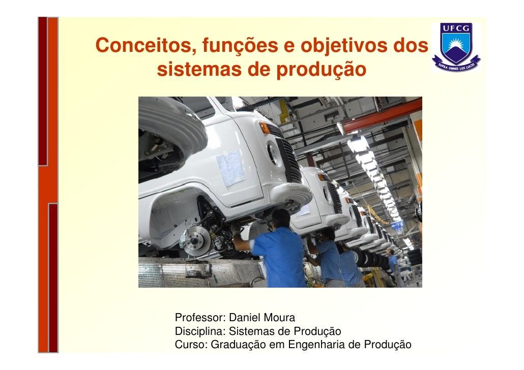 Conceitos, funções e objetivos dos      sistemas de produção             Professor: Daniel Moura         Disciplina: Siste...