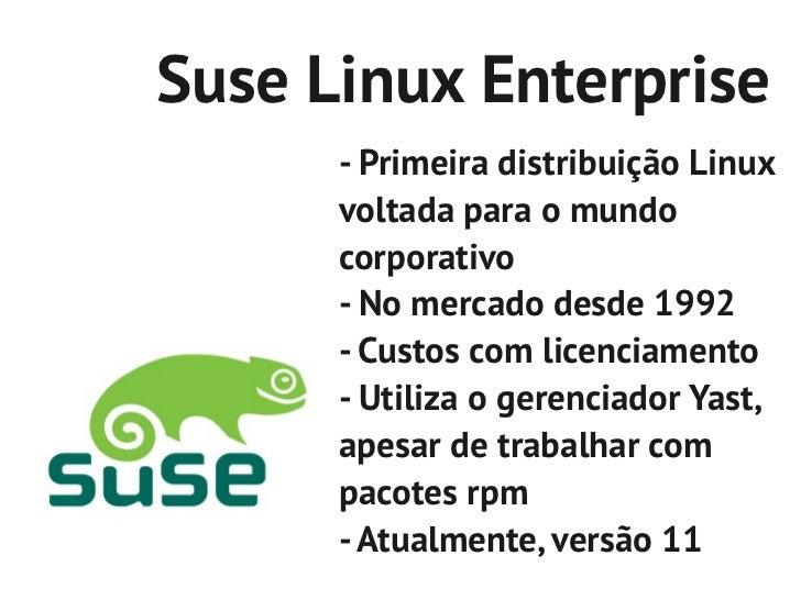 Suse Linux Enterprise      - Primeira distribuição Linux      voltada para o mundo      corporativo      - No mercado desd...