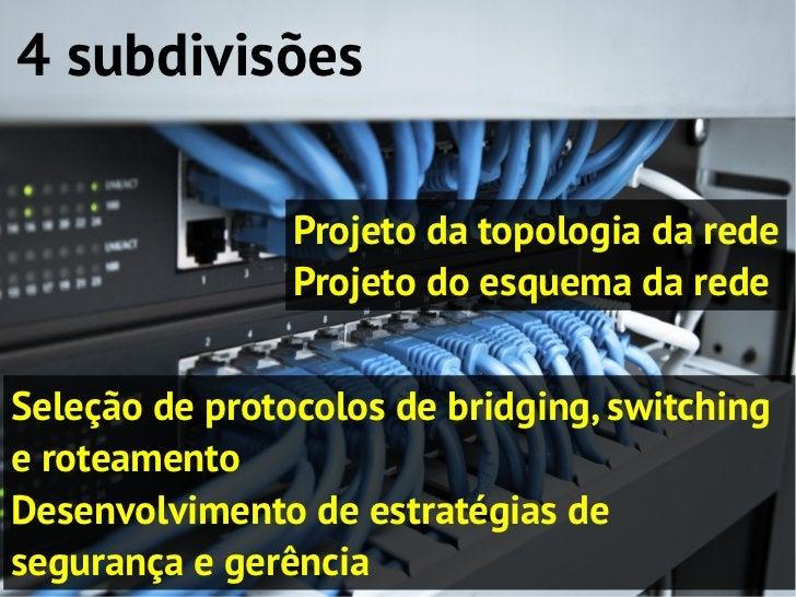 4 subdivisões                Projeto da topologia da rede                Projeto do esquema da redeSeleção de protocolos d...