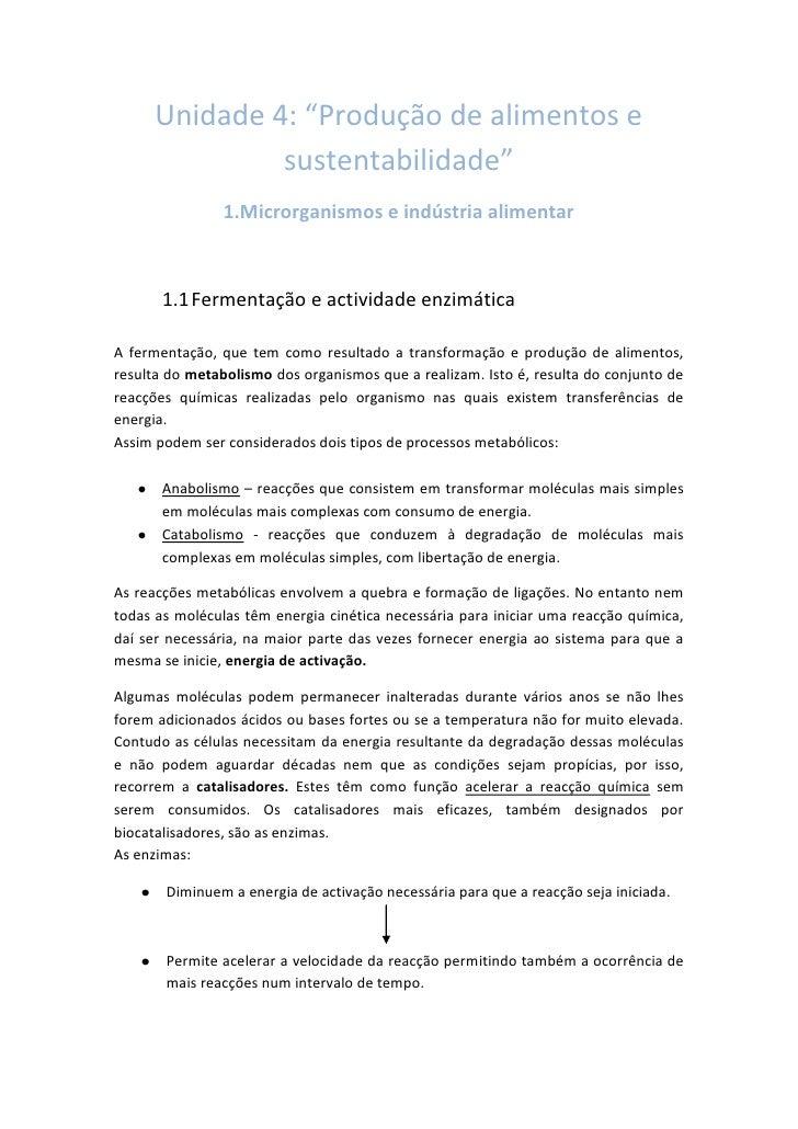 """Unidade 4: """"Produção de alimentos e                sustentabilidade""""                 1.Microrganismos e indústria alimenta..."""