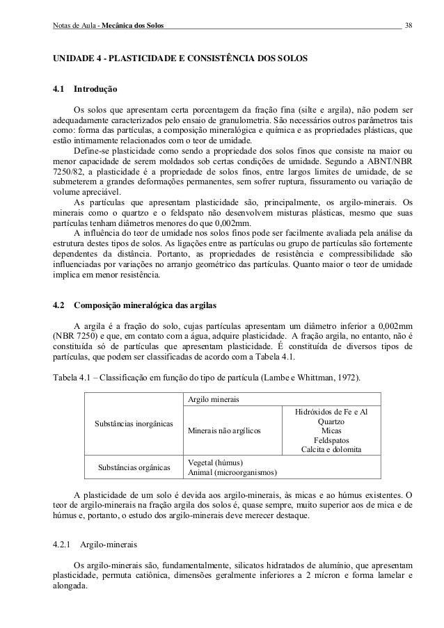 Notas de Aula - Mecânica dos Solos 38 UNIDADE 4 - PLASTICIDADE E CONSISTÊNCIA DOS SOLOS 4.1 Introdução Os solos que aprese...
