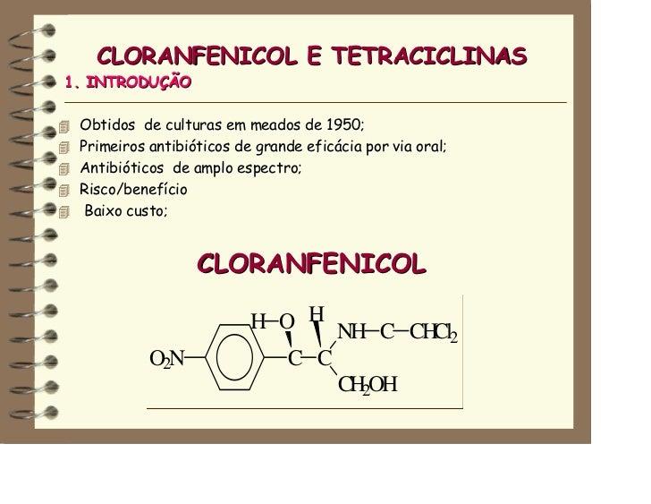 CLORANFENICOL E TETRACICLINAS1. INTRODUÇÃO Obtidos de culturas em meados de 1950; Primeiros antibióticos de grande eficáci...